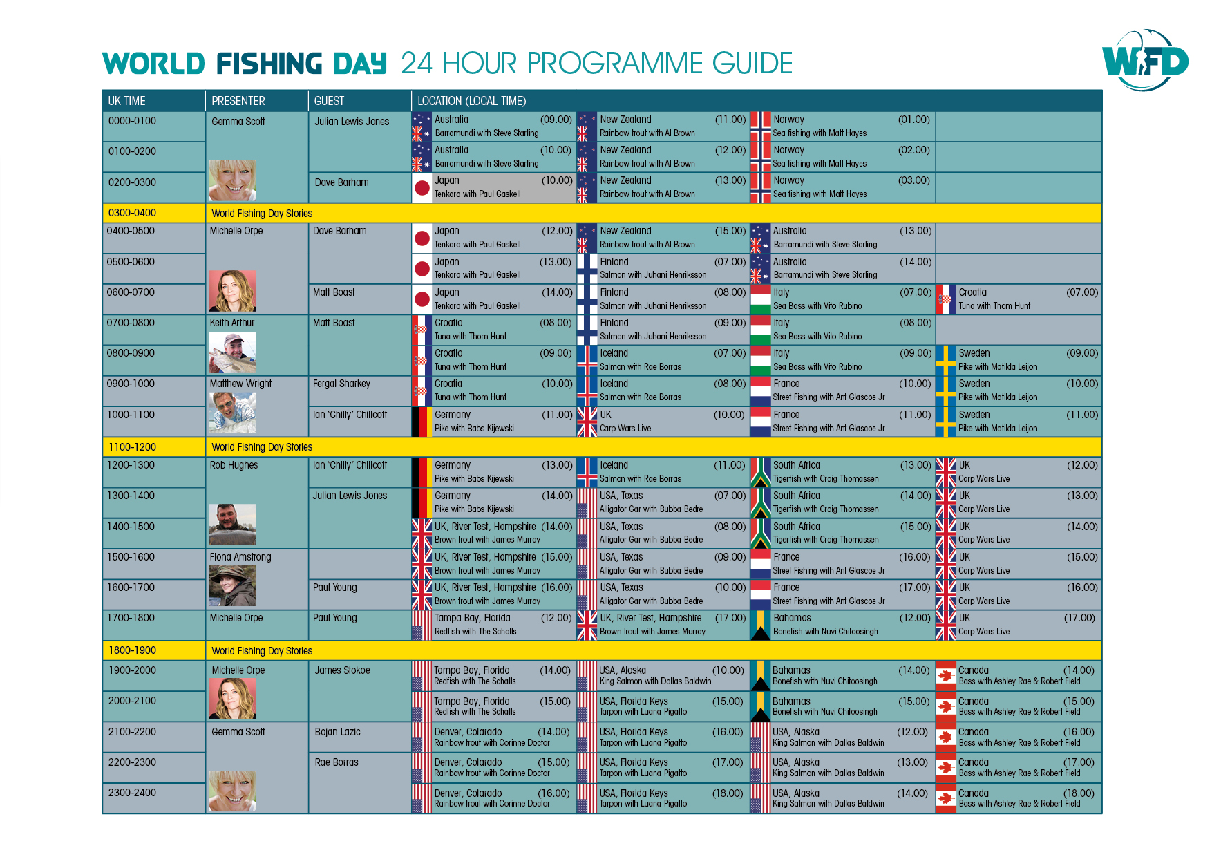 world fishing day tv schedule