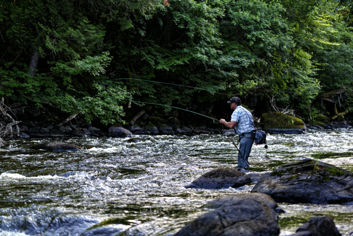An angler casts into pocket water.